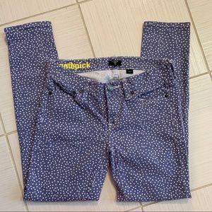 🆕🦋 J Crew Toothpick Lilac Polka Dot Skinny Jeans